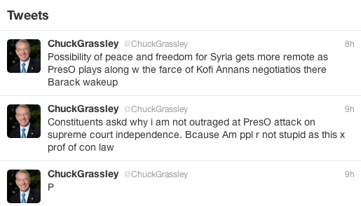 Senator Chuck Grassley disrespects the President
